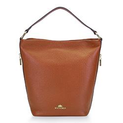 Kožená taška s bočními kapsami, hnědá, 93-4E-613-5, Obrázek 1