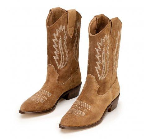 Cowboy-Stiefeletten aus Veloursleder mit Ziernähten