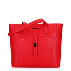 Классическая сумка-шоппер с фронтальным карманом, кармин, 29-4Y-002-B3, Фотография 1