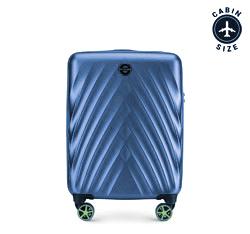 Kabinbőrönd polikarbonátból átlós mintával, kék, 56-3P-801-91, Fénykép 1