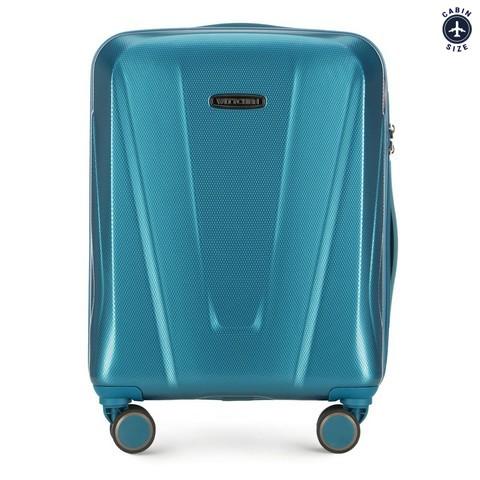 Kabinbőrönd polikarbonát geometrikus mintával, kék, 56-3P-121-35, Fénykép 1