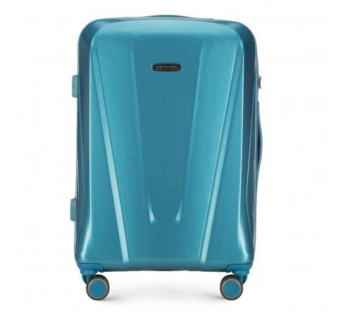 Közepes méretű polikarbonát bőrönd, kék, 56-3P-122-95, Fénykép 1