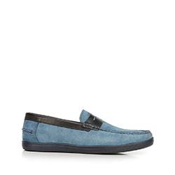 Mokaszin penny loafers velúrból, kék, 92-M-302-7-45, Fénykép 1