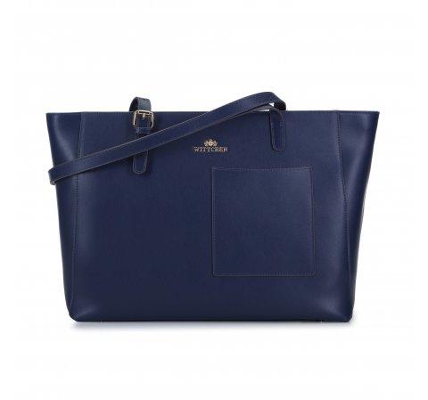 Nagy shoppertáska bőrből, kék, 93-4E-615-1, Fénykép 1
