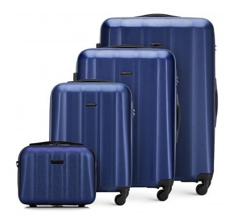 Texturált bőröndkészlet neszeszerrel, kék, 56-3P-11K-95, Fénykép 1