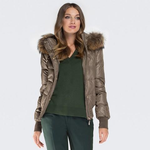 Dámská bunda, khaki, 87-9D-404-Z-S, Obrázek 1