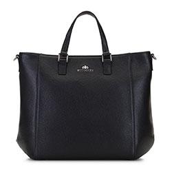 Klasszikus shoppertáska bőrből, fekete, 92-4E-644-1S, Fénykép 1
