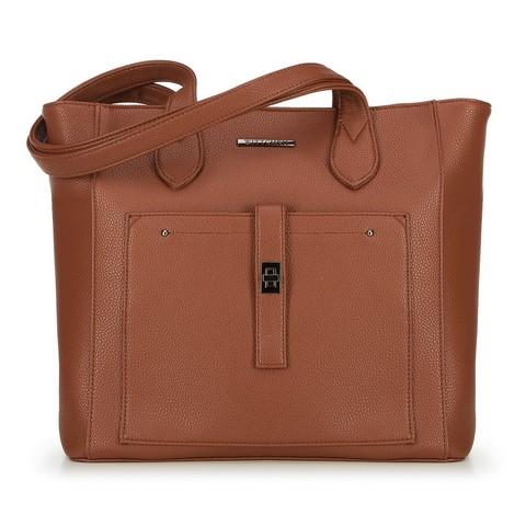 Классическая сумка-шоппер с передним карманом, коньячный, 29-4Y-002-5, Фотография 1