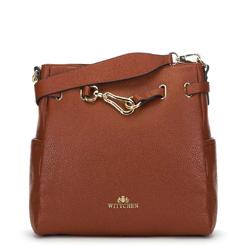 Кожаная сумка с декоративной пряжкой, коньячный, 91-4E-601-5, Фотография 1