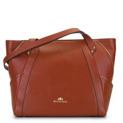 Кожаная сумка-шоппер с декоративной застежкой-молнией, коньячный, 92-4E-646-5, Фотография 1