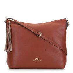 Кожаная сумка-шоппер с кисточкой, коньячный, 29-4E-008-5, Фотография 1