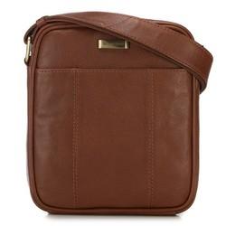 Мужская кожаная сумка с открытым карманом, коньячный, 91-4U-316-5, Фотография 1