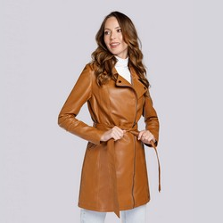 Женское пальто в байкерском стиле из экокожи, коньячный, 93-9P-107-4-L, Фотография 1