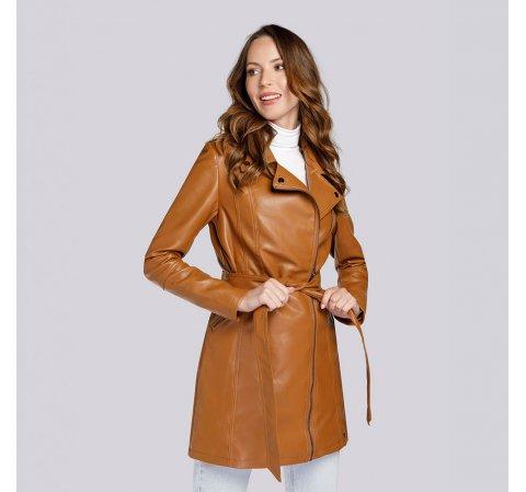 Женское пальто в байкерском стиле из экокожи, коньячный, 93-9P-107-1-2XL, Фотография 1