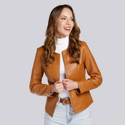 Женская куртка из экокожи простая, коньячный, 93-9P-111-4-M, Фотография 1