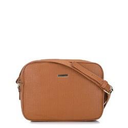 Женская сумка через плечо с тиснением, коньячный, 91-4Y-623-9, Фотография 1