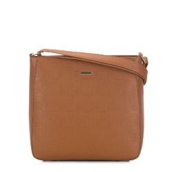 Женская сумка через плечо с тиснением, коньячный, 91-4Y-625-9, Фотография 1