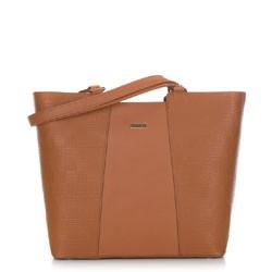 Женская сумка-шоппер с тиснением, коньячный, 91-4Y-624-9, Фотография 1