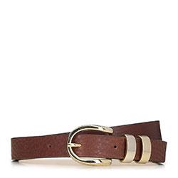 Женский узкий ремень с декоративной пряжкой, коньячный, 91-8D-312-4-M, Фотография 1