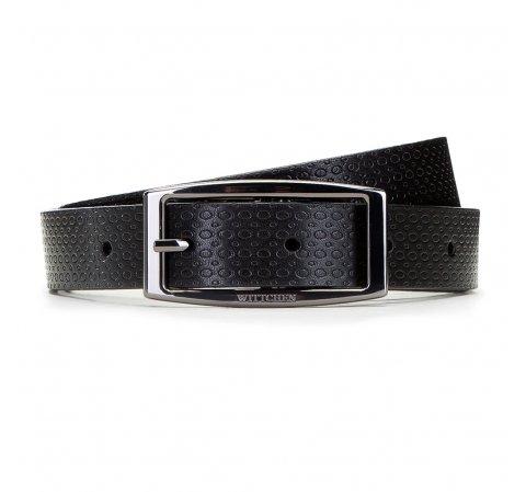 Женский двусторонний кожаный ремень с прямоугольной пряжкой, коричнево-черный, 91-8D-304-1-XL, Фотография 1