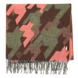 Женский шарф с геометрическим узором, коричнево - розовый, 91-7D-X27-X1, Фотография 1