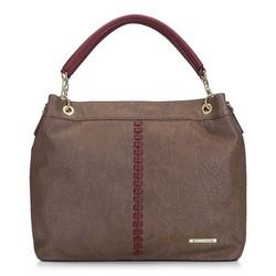 Сумка-шоппер с декоративной строчкой, коричневый - бордовый, 91-4Y-710-8, Фотография 1