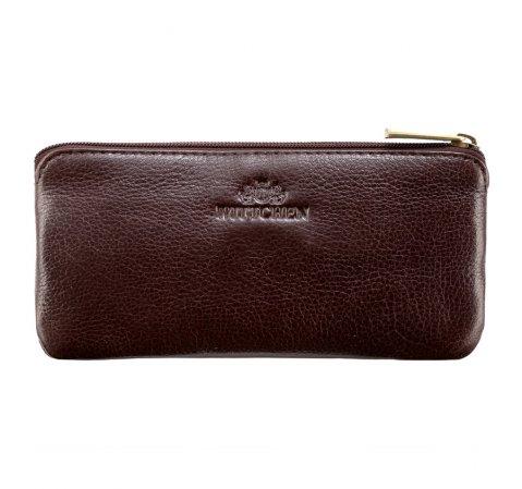 Ключница кожаная с полуоткрытым карманом, коричневый, 21-2-278-1, Фотография 1