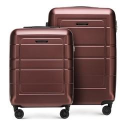 Комплект чемоданов с геометрическими прорезями, коричневый, 56-3H-54S-3R, Фотография 1