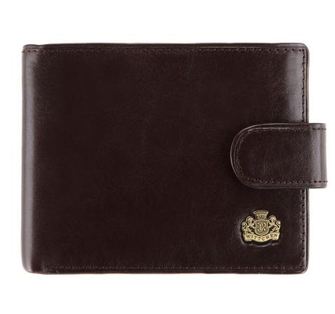 Кожаный мужской кошелек на кнопке, коричневый, 10-1-127-4, Фотография 1