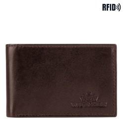 Кожаный кошелек мужской минималистичный, коричневый, 26-1-421-4, Фотография 1