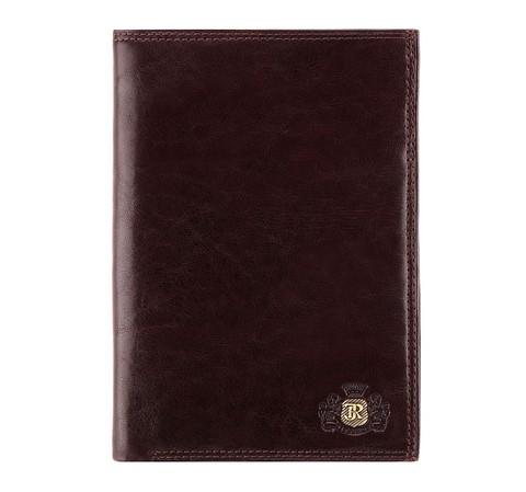 Кожаный мужской кошелек с гербом без застежки, коричневый, 39-1-321-3, Фотография 1