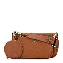 Женская двойная кожаная сумка через плечо, коричневый, 92-4E-653-5, Фотография 1