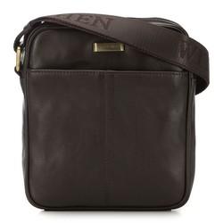 Мужская кожаная сумка через плечо с карманом, коричневый, 91-4U-311-4, Фотография 1