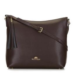 Кожаная сумка-шоппер с кисточкой, коричневый, 29-4E-008-40, Фотография 1