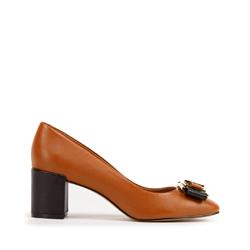Кожаные туфли-лодочки на каблуке с пряжкой, коричневый, 93-D-750-4-35, Фотография 1