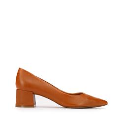 Кожаные туфли-лодочки с острым носом на каблуке, коричневый, 93-D-751-4-39, Фотография 1