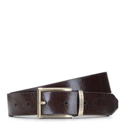 Ремень мужской винтажный кожаный, коричневый, 92-8M-361-4-90, Фотография 1