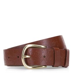 Женский кожаный ремень с цветочным тиснением, коричневый, 92-8D-311-4-XL, Фотография 1
