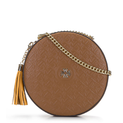 Круглая кожаная сумка через плечо - лимитированная серия, коричневый, 92-4E-662-5, Фотография 1