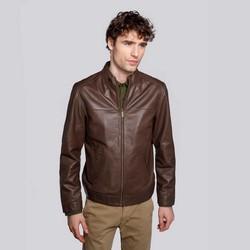 Мужская кожаная мотоциклетная куртка с карманами, коричневый, 92-09-650-4-S, Фотография 1