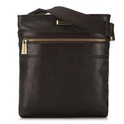 Мужская кожаная сумка через плечо с карманом, коричневый, 91-4U-314-4, Фотография 1