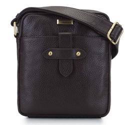 Маленькая мужская кожаная сумка через плечо с ремешком, коричневый, 92-4U-308-4, Фотография 1