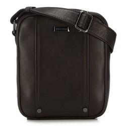 Мужская кожаная сумка через плечо с заклепками, коричневый, 91-4U-317-4, Фотография 1