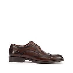 Мужские классические кожаные броги, коричневый, 93-M-910-4-45, Фотография 1