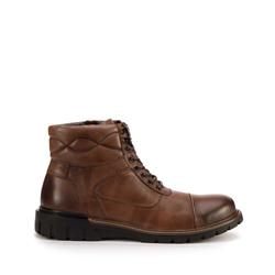 Мужские кожаные ботинки с отстрочкой, коричневый, 93-M-905-4-42, Фотография 1