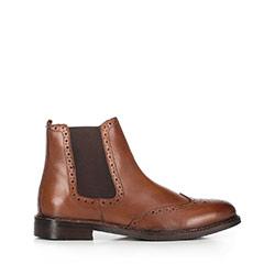 Мужские кожаные ботинки с перфорацией, коричневый, 91-M-300-5-42, Фотография 1