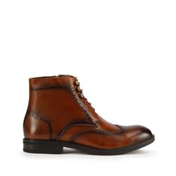 Мужские кожаные ботинки с перфорацией, коричневый, 93-M-916-4-42, Фотография 1
