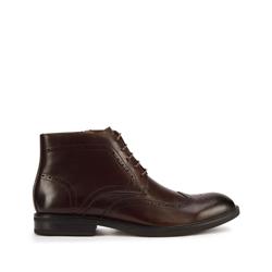 Мужские кожаные ботинки с перфорацией, коричневый, 93-M-917-4-43, Фотография 1
