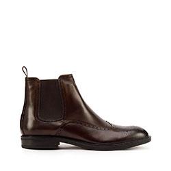 Мужские кожаные ботинки с перфорацией, коричневый, 93-M-918-4-42, Фотография 1