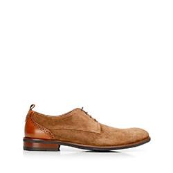 Мужские замшевые туфли с контрастной стойкой на каблуке, коричневый, 92-M-512-5-45, Фотография 1